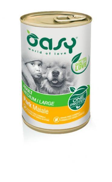 Oasy One Protein Umido Cane Adulto Medium/Large Lattina Maiale 400 g